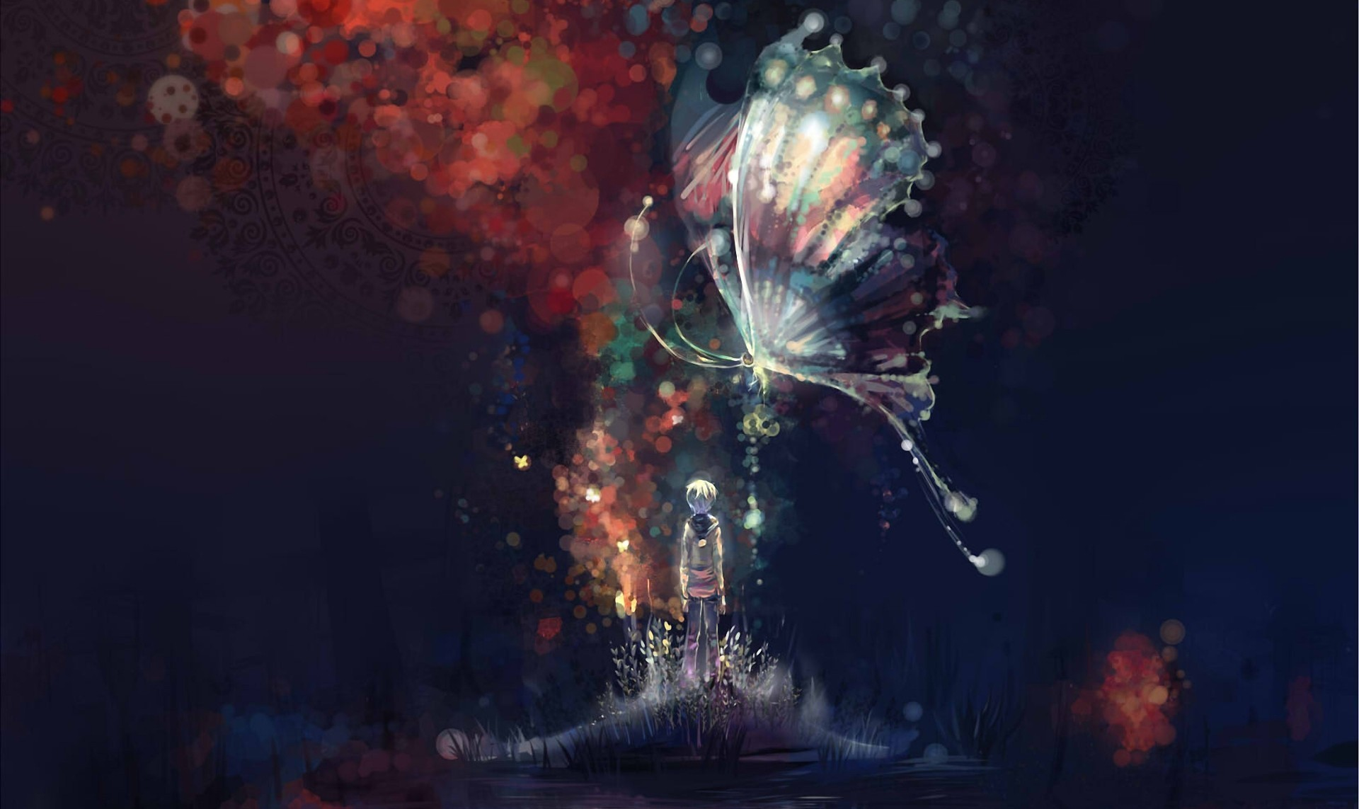 art Night Abstract Butterfly Boy Island Water Lake Anime 1920x1143