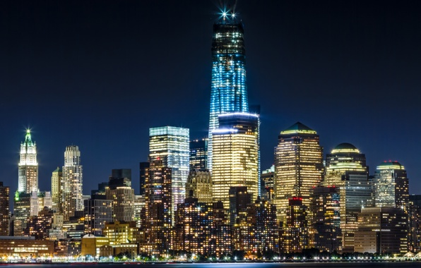 freedom tower skyline skyscrapers evening lights wallpapers 596x380