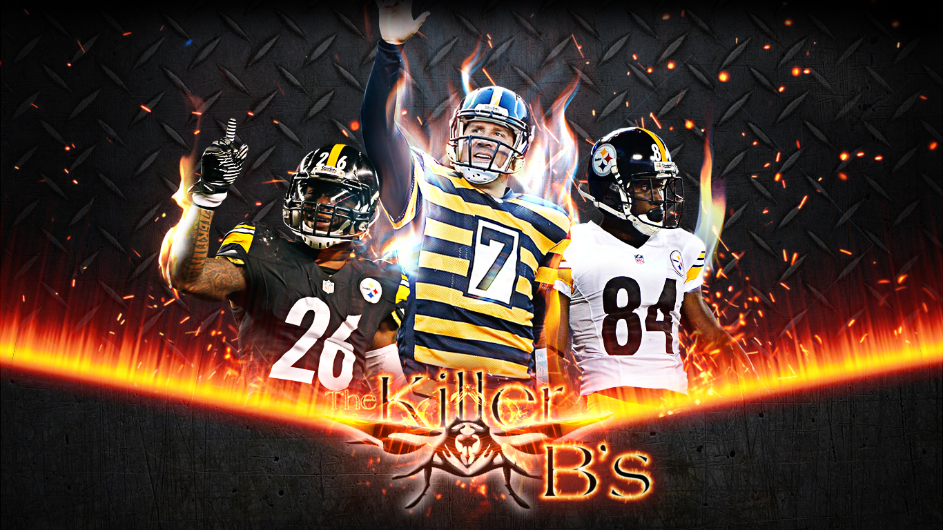 leveon bell antonio brown ben roethlisberger steelers wallpaper 1366x768
