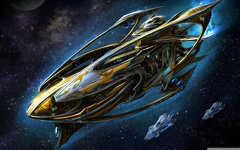 Starcraft Protoss Battleship Ultra HD Desktop Background Wallpaper 2880x1800