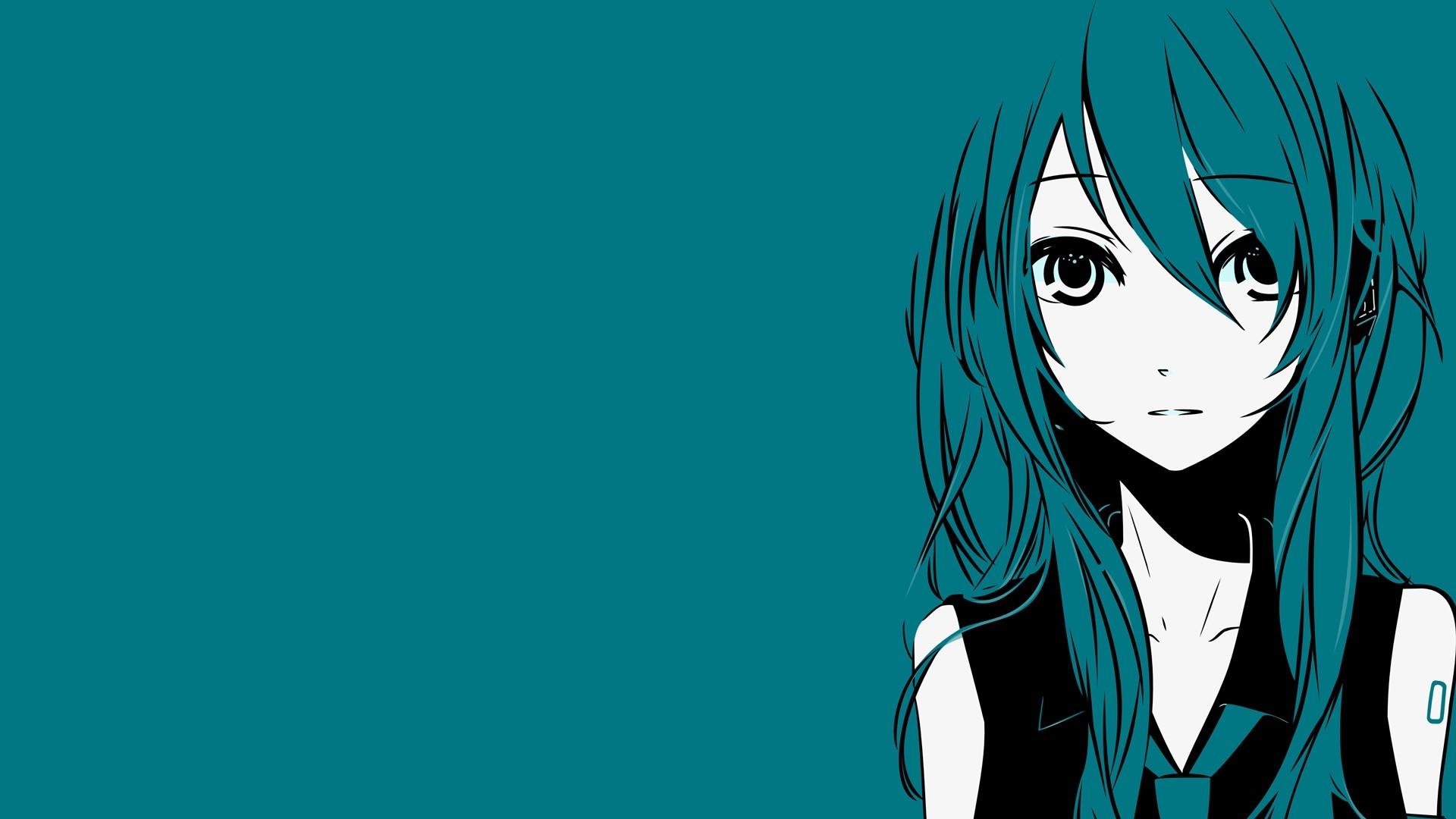 Anime Hatsune Miku Minimalistic Full HD Desktop Wallpapers 1080p 1920x1080