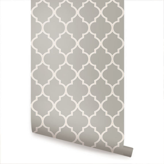 Moroccan Warm Grey Peel Stick Fabric Wallpaper by AccentuWall 570x570