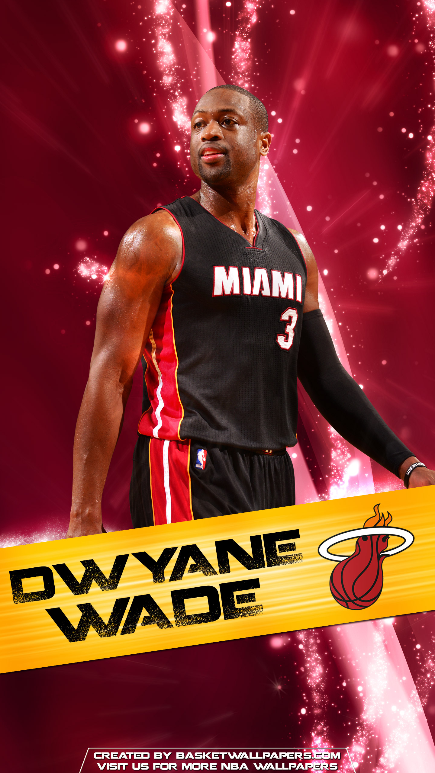 Dwyane Wade Miami Heat 2016 Mobile Wallpaper Basketball 1440x2560
