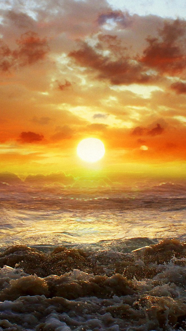 Download Ocean Beach Sunset HD iPhone 5 Wallpapers   Part Two 640x1136