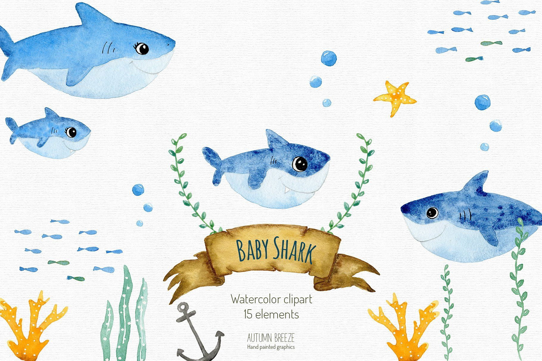 Baby shark clipart savedbackgroundHighindividually Vectors 1820x1214