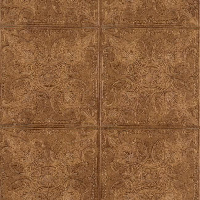 Home Embossed Textured Copper Faux Ceiling Tile Heavy Duty Wallpaper 650x650