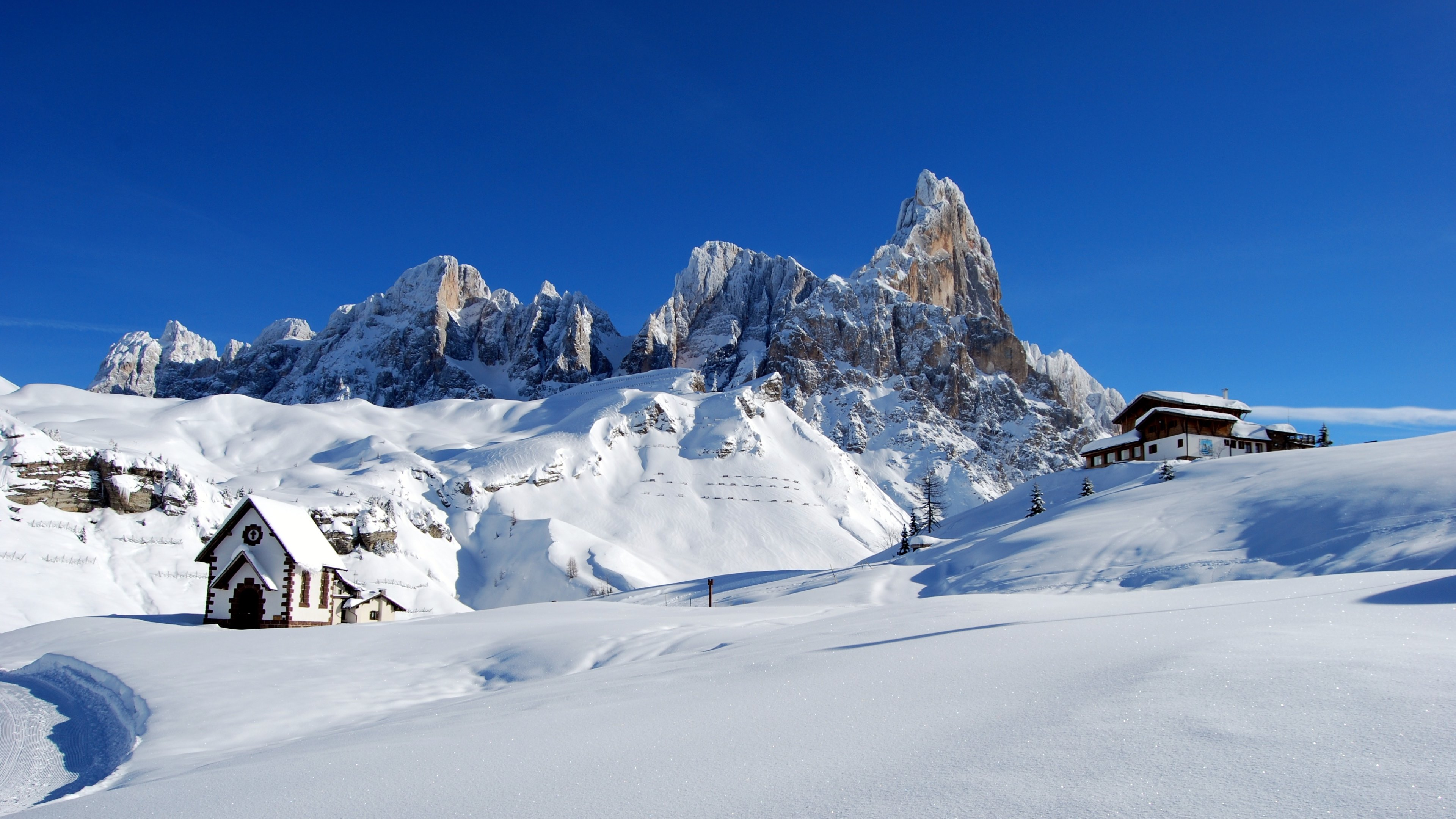 Dolomites Alps Italy Winter Snow Wallpapers HD Wallpapers 3840x2160