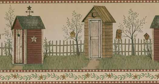 Outhouse Wallpaper Border BG1621BD primitive country bath decor 525x277