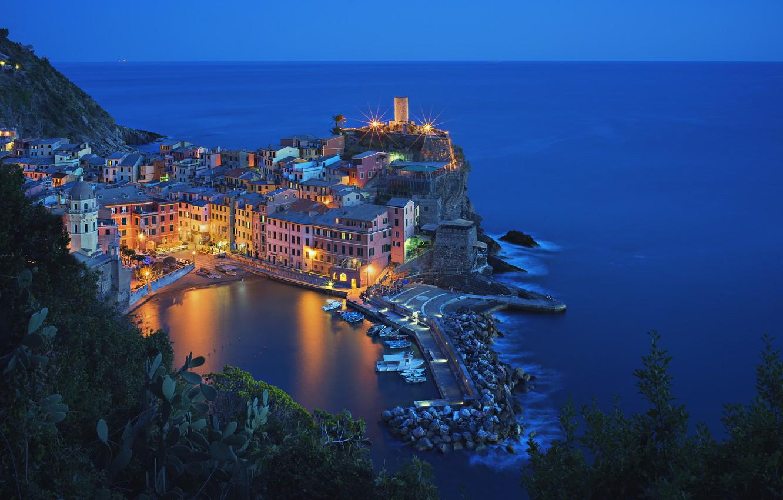 Wallpaper sea night lights Bay Italy Vernazza Cinque Terre 1332x850