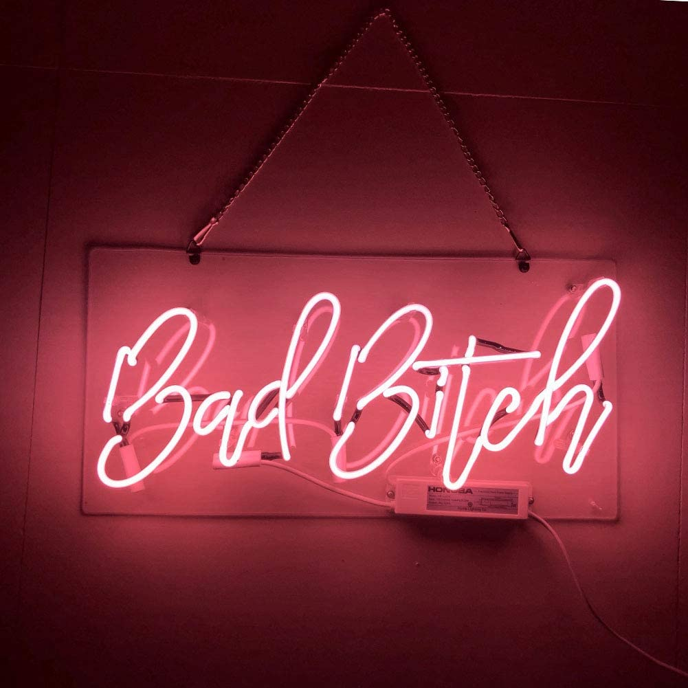 LiQi Bad Bitch Real Glass Handmade Neon Wall Signs for Home 1001x1001