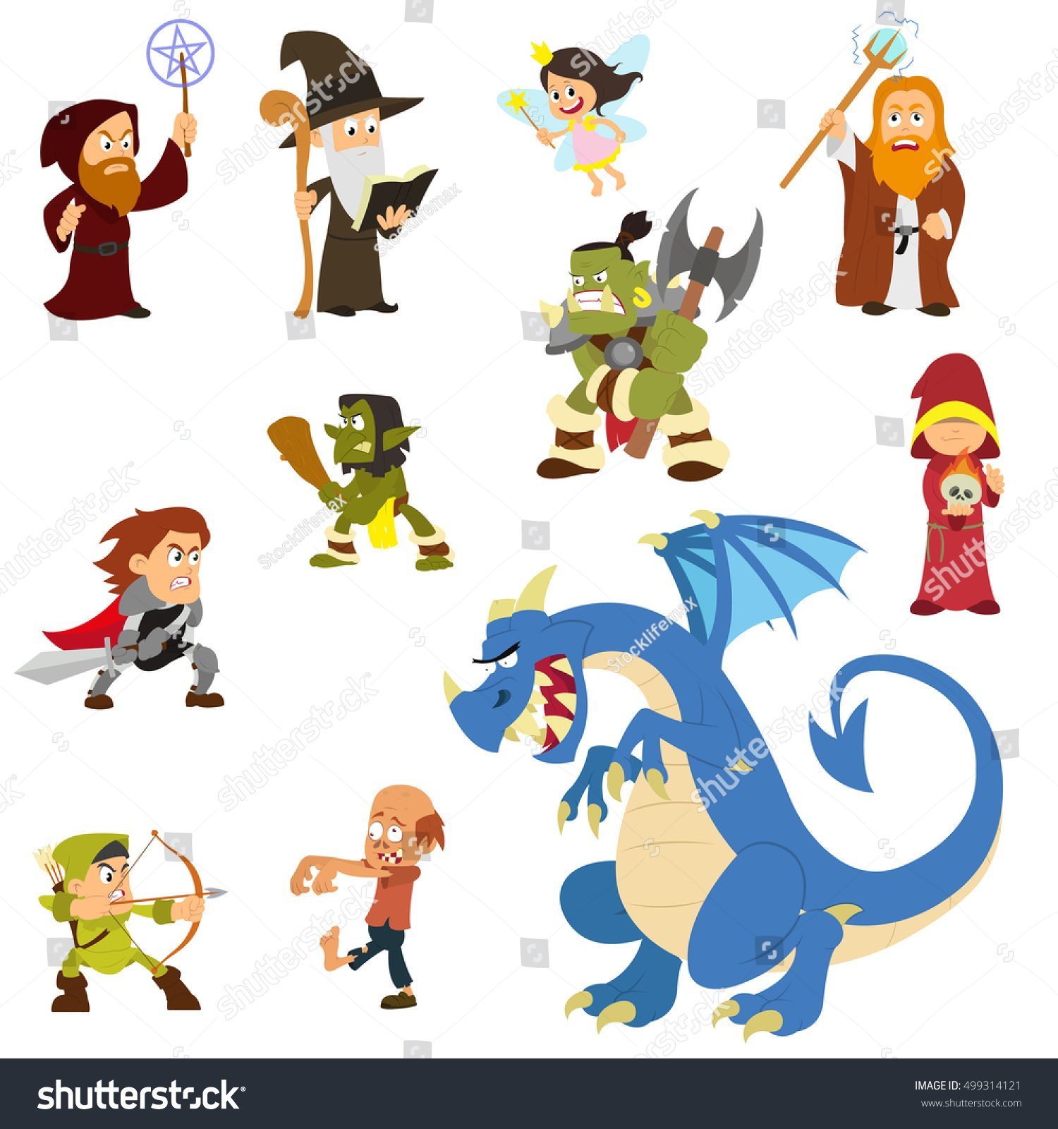 Fairy Tale Characters Fantasy Heroes Villains Stock Vector 1500x1600