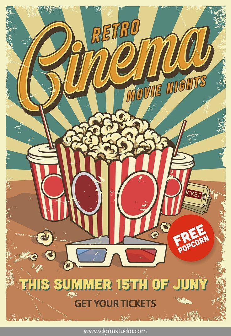 12 Cinema Posters Retro posterler Vintage posterler Retro klasik 736x1070