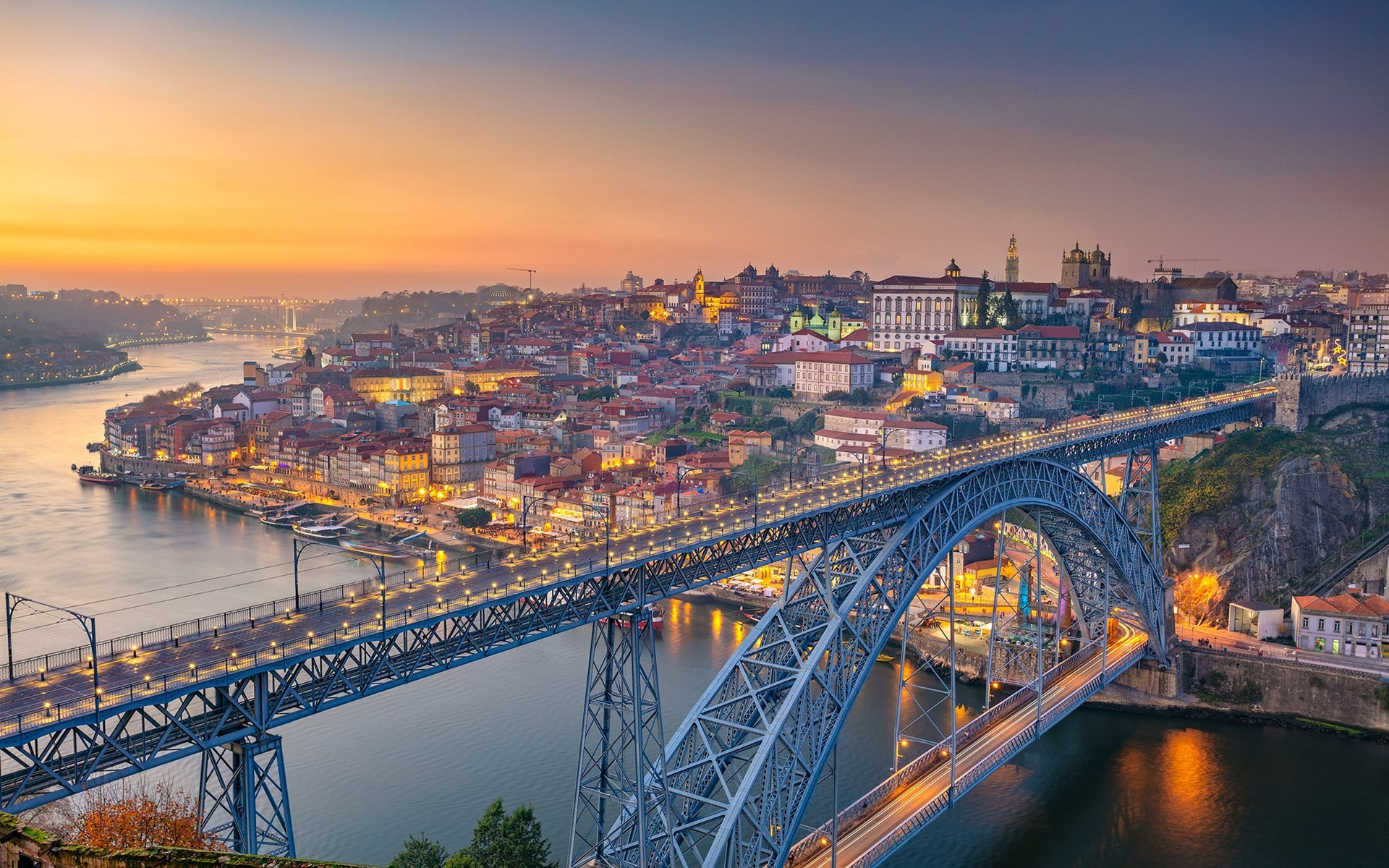 Wallpaper Portugal Porto river bridge city morning 1920x1200 1920x1200