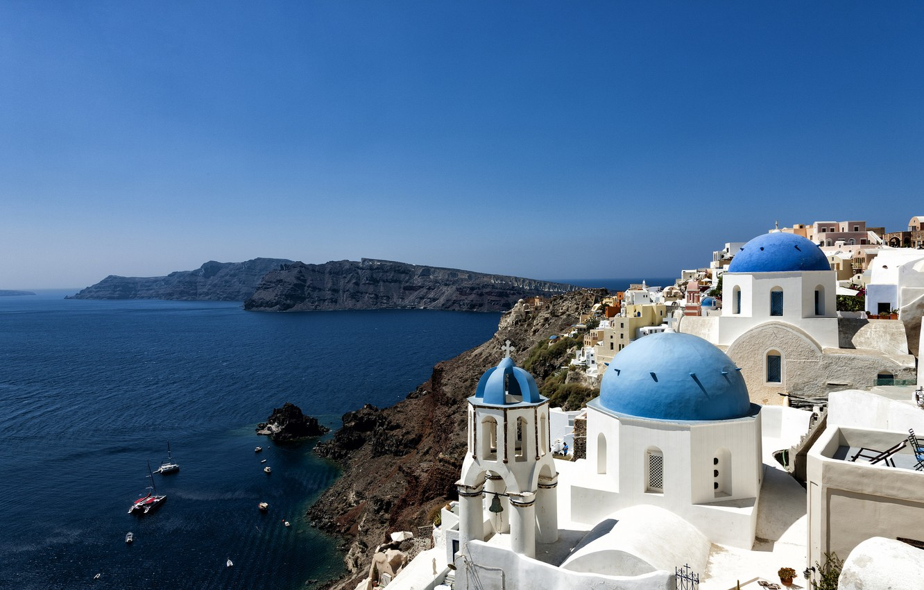 Wallpaper sea the city coast Greece Santorini images for 1332x850