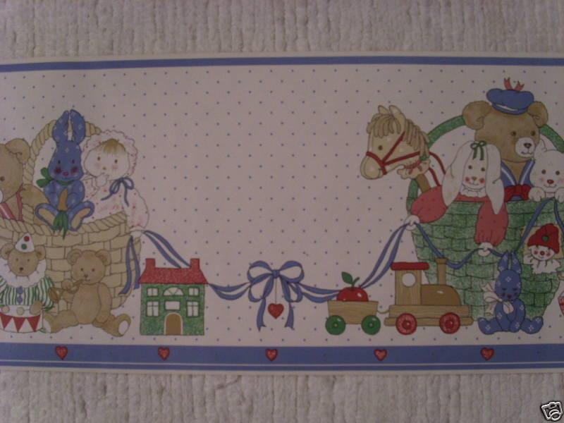 Country Bunny Bear Doll House Clown Pig Train Wallpaper Border eBay 800x600
