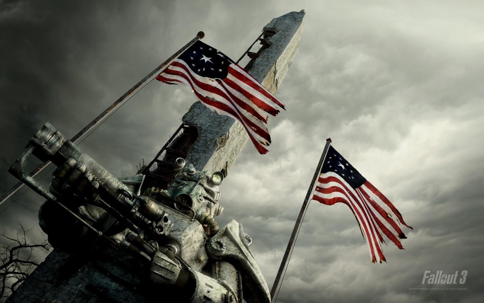 Fallout Brotherhood of Steel Waving Flags HD Wallpaper 1600x1000