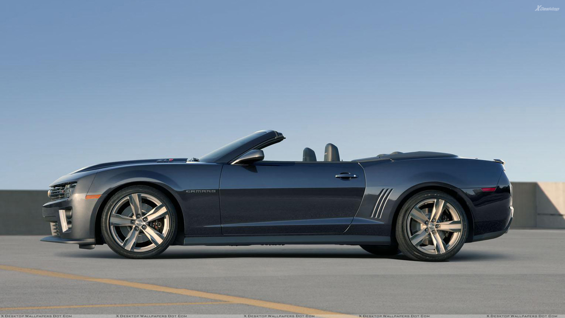 Side Pose Of 2013 Chevrolet Camaro ZL1 Convertible In Grey Wallpaper 1920x1080