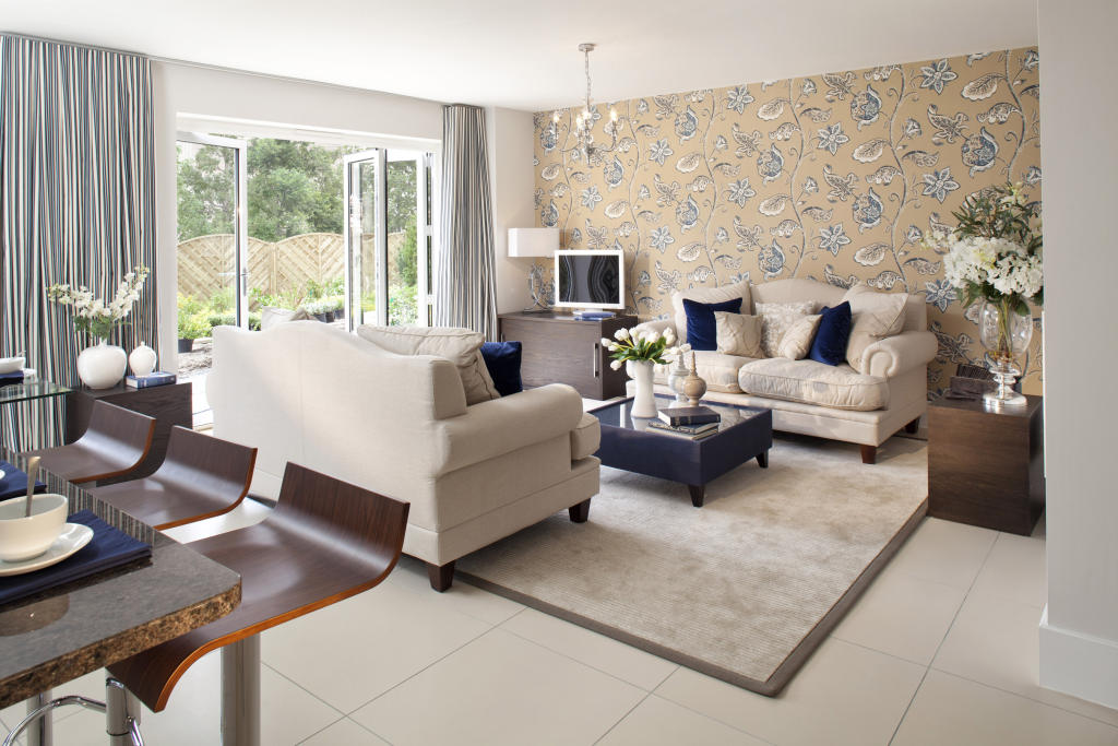 living room with french doors tiles carpet feature wall wallpaper 1024x683