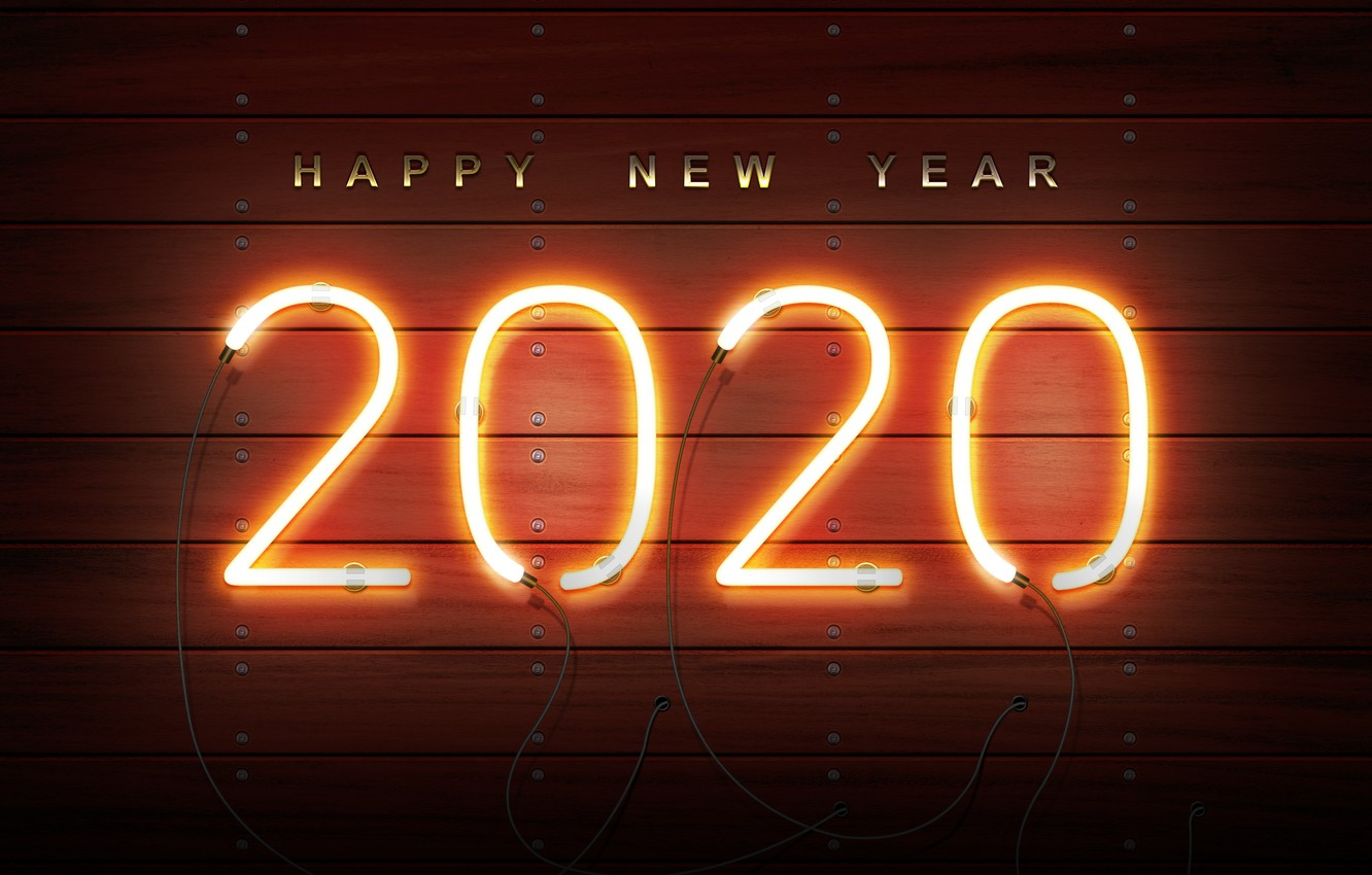 download Wallpaper new year neon happy new year new year 2020 1332x850