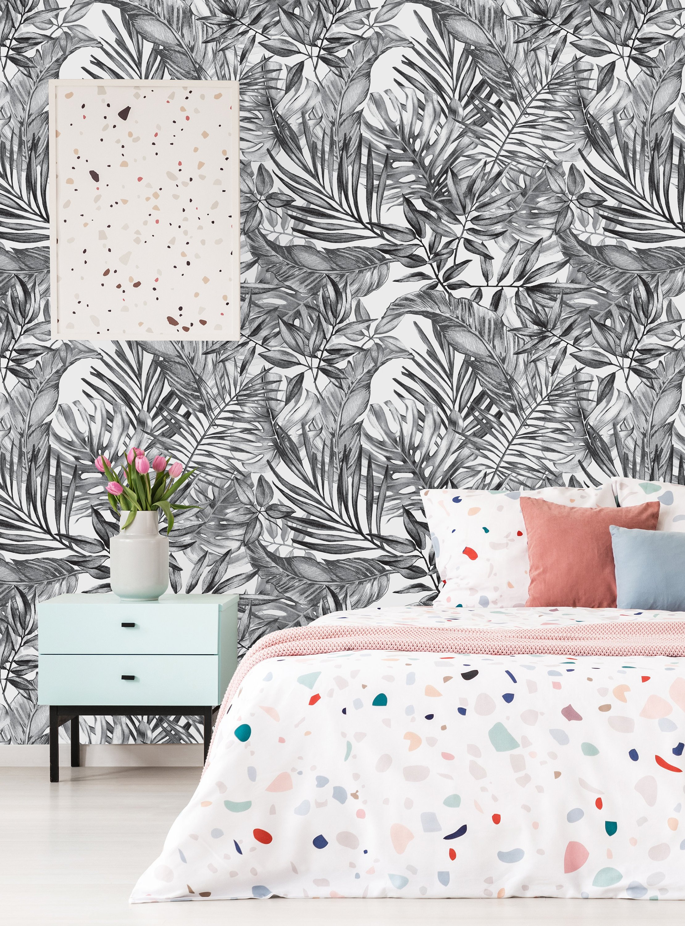 Removable Wallpaper Self Adhesive Wallpaper Gray Tropical Etsy 2219x3000