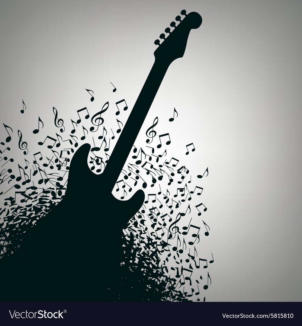 Notes Guitar Background Royalty Vector Image 1000x1080