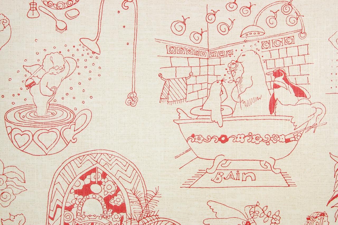 1970s Retro Vintage Wallpaper Red Bain Bathroom Shower   Rosies 1280x853