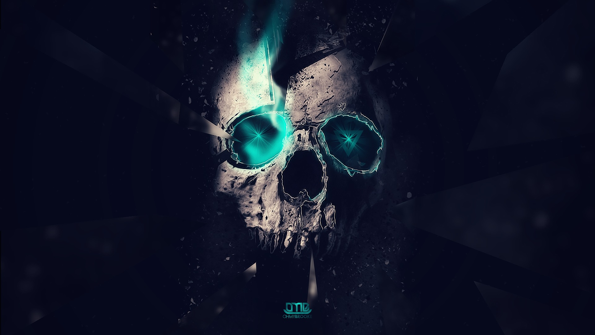 skull abstract blue lights Triangles lighting space hd wallpaper 1920x1080