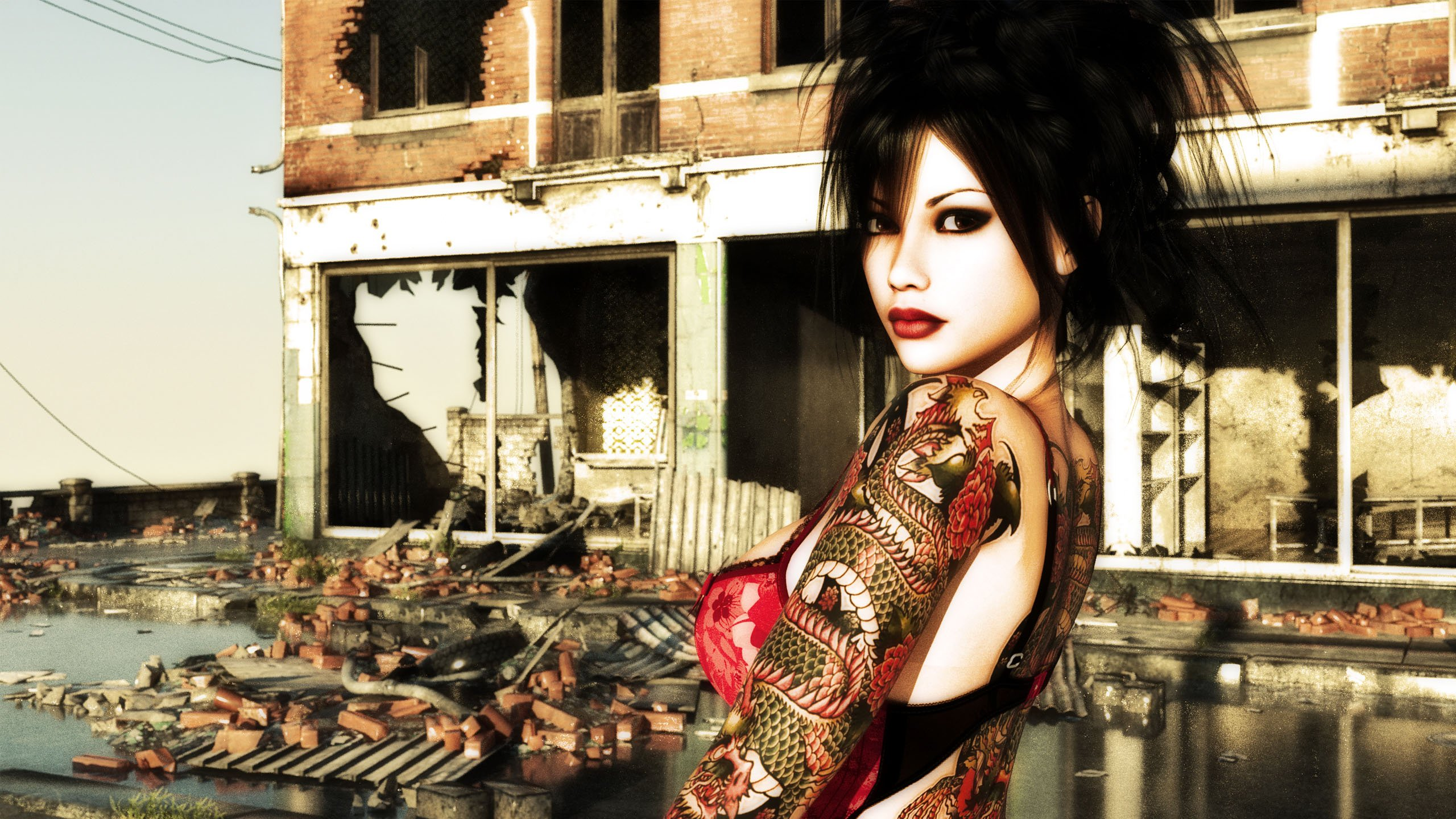 Image Tattooed Girl   Daz 3D wallpapers and stock photos 2560x1440