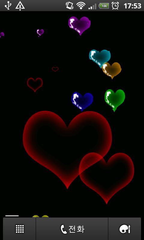 description heart bubbles live wallpaper eight colors of the heart 480x800