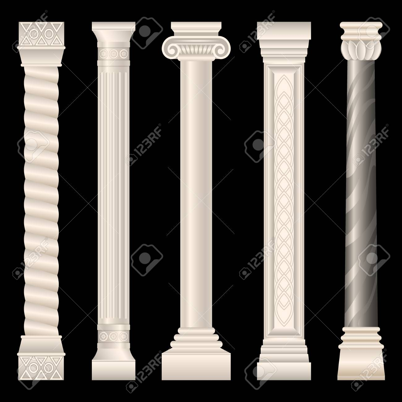 Set Of Stone Columns In Different Styles Isolated On Dark 1300x1300