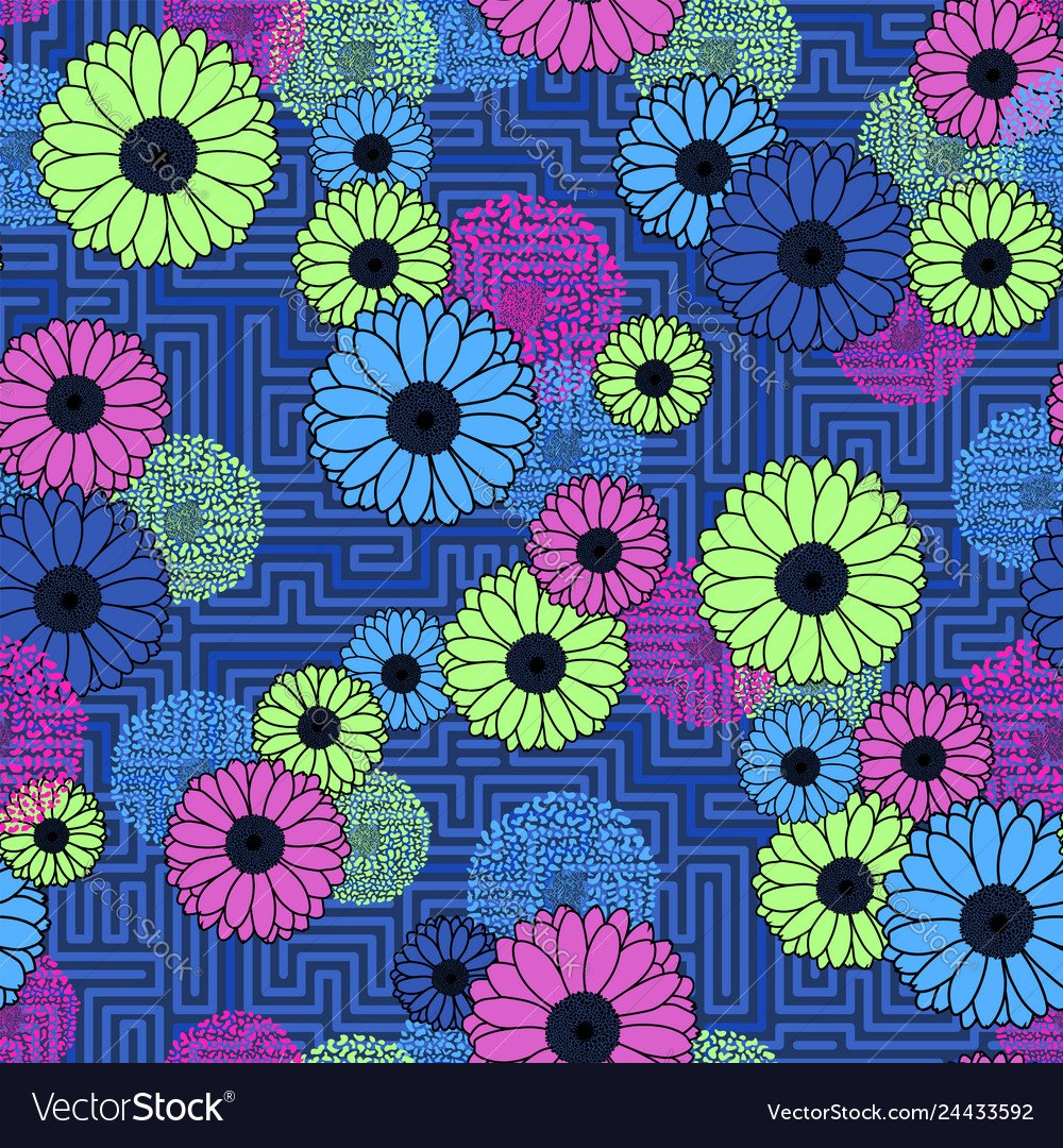 Floral clash on geometric background seamless neon 1000x1080