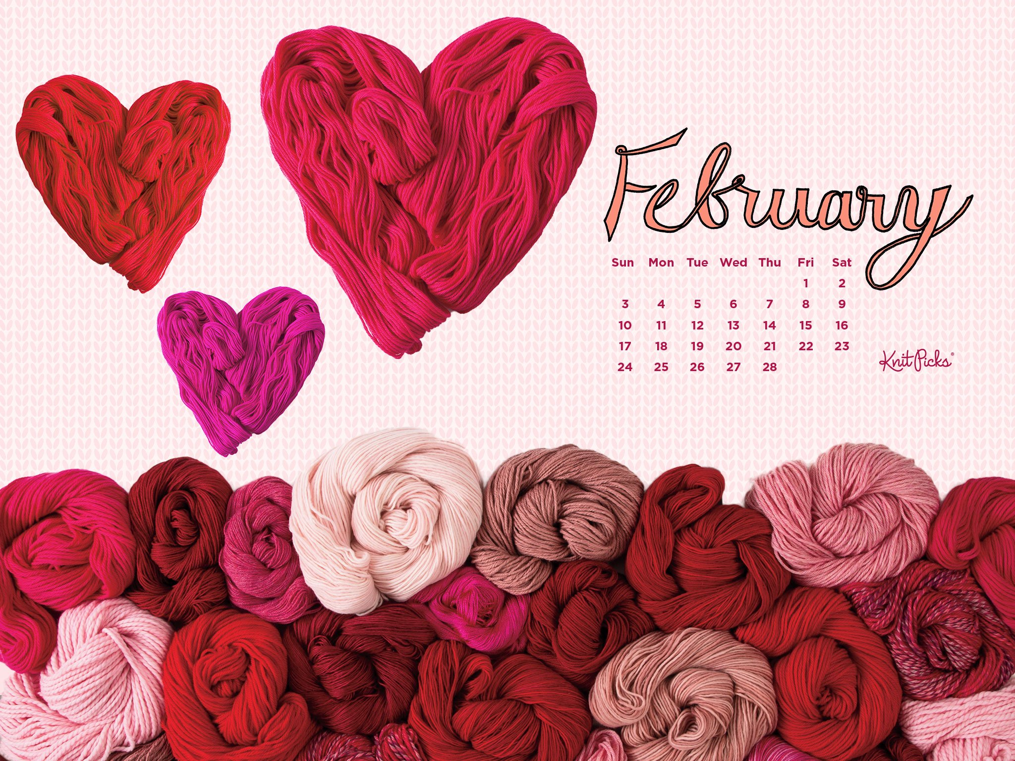 Downloadable February 2019 Calendar   KnitPicks Staff 2048x1536