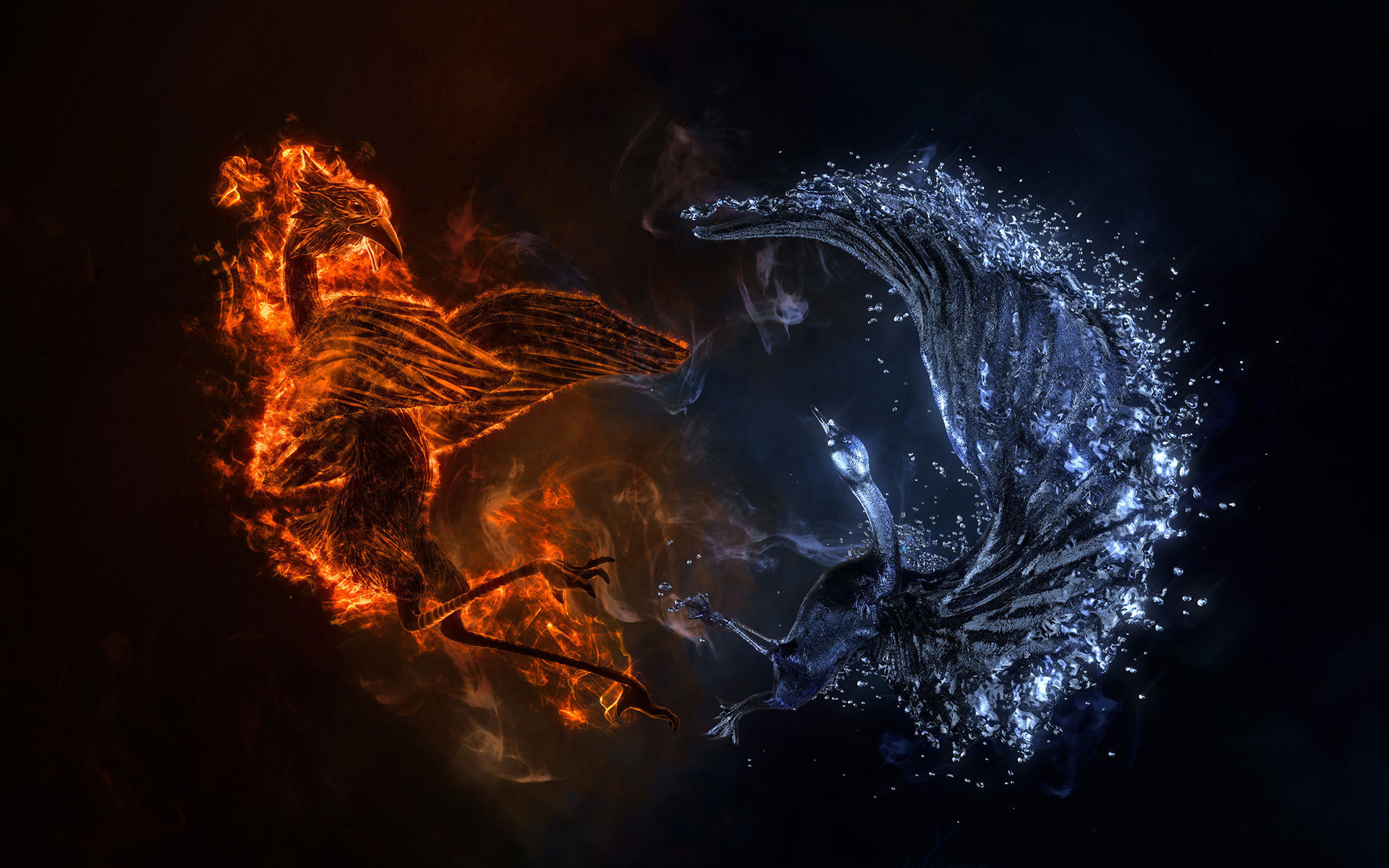 Fire Phoenix vs Ice Phoenix Desktop Wallpaper 1920x1200