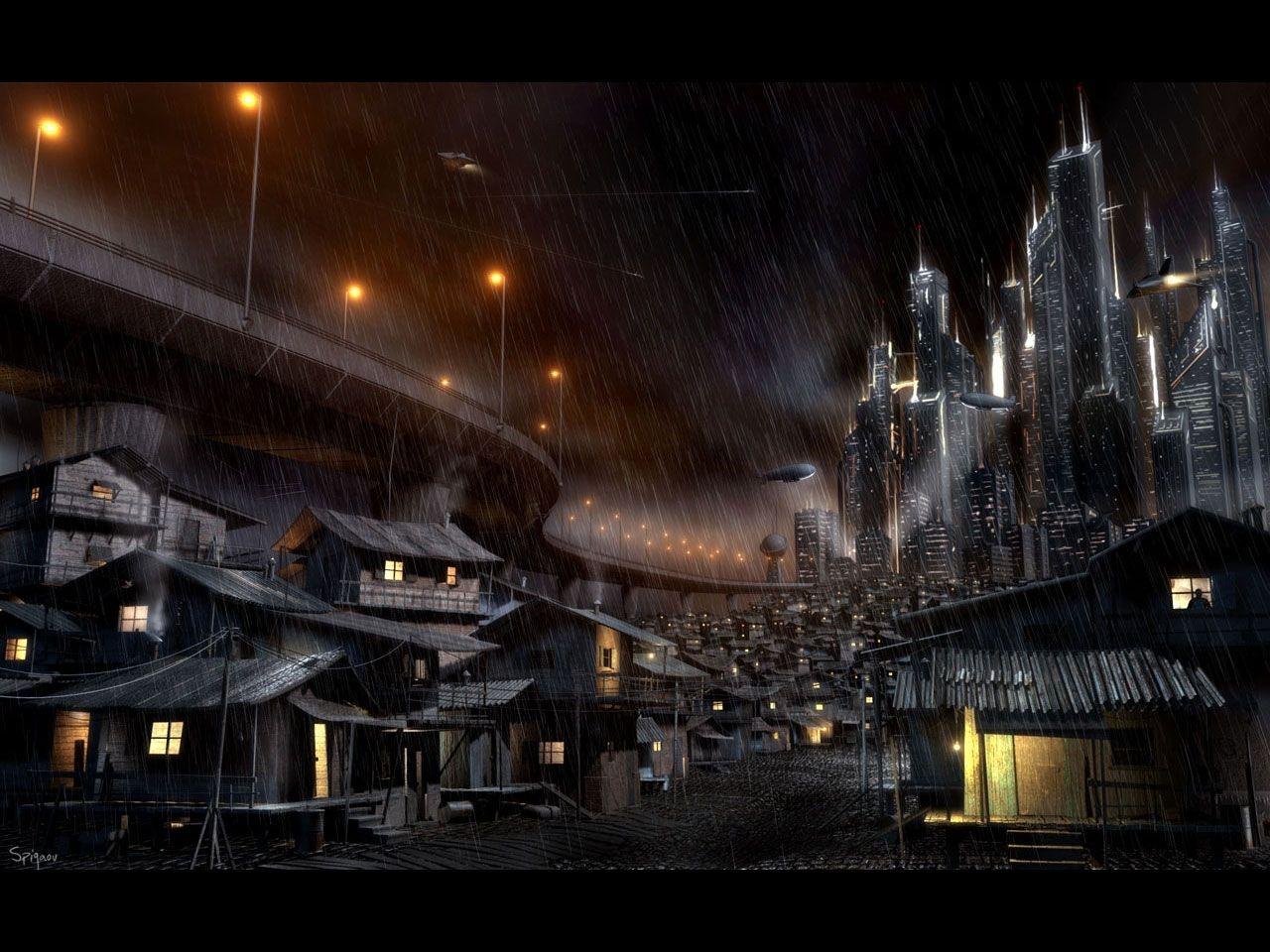 Dark Future City Animation Wallpaper 1280x960