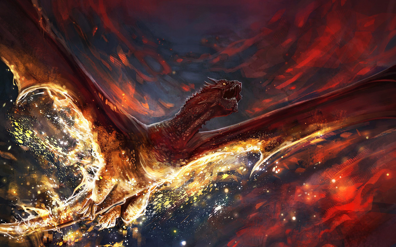 Flying dragon on fire Widescreen Wallpaper   20826 1280x800