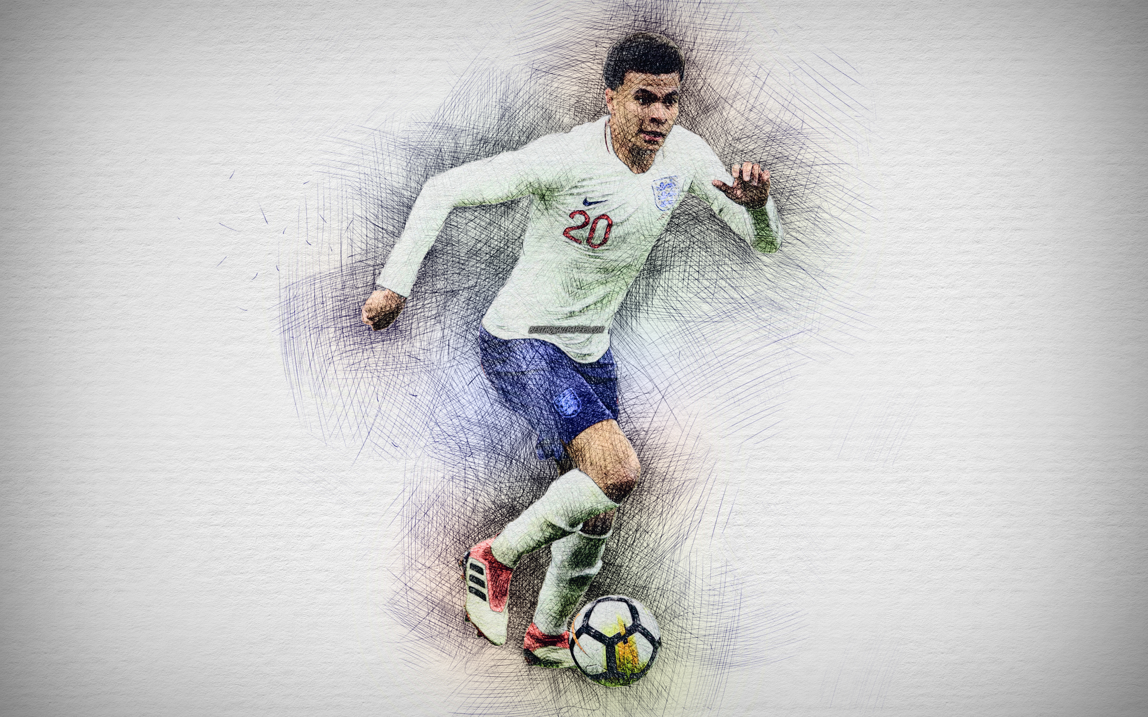 Download wallpapers 4k Dele Alli English football team artwork 3840x2400