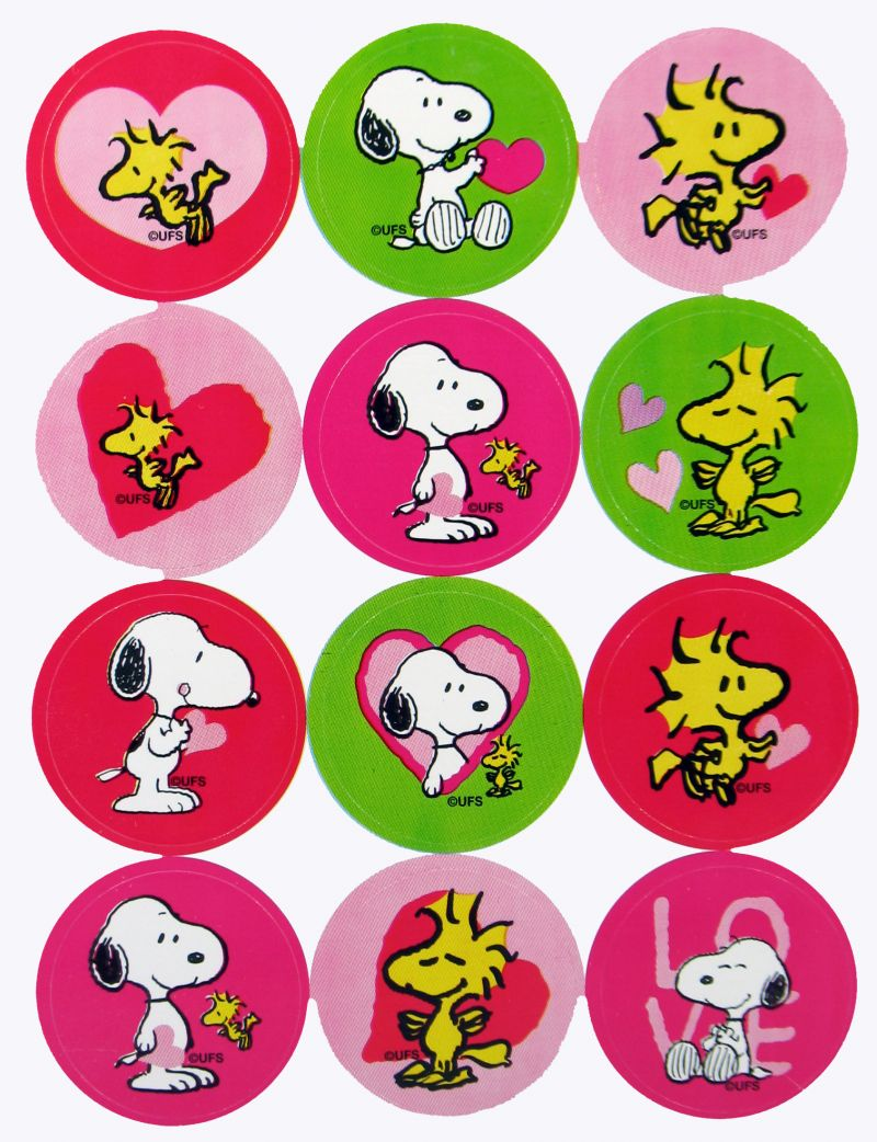 Snoopy and Woodstock Valentines Day Seals 800x1042