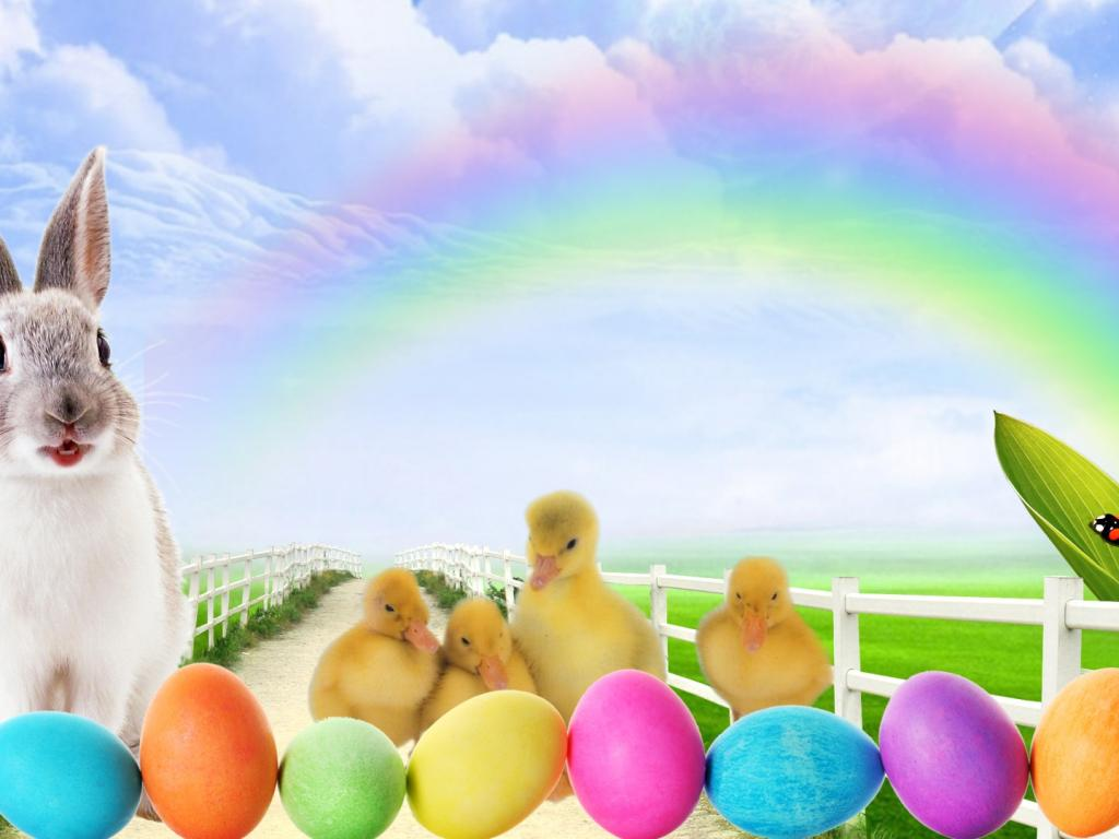 hd wallpaper easter bunny lane clouds colored   Background 1024x768