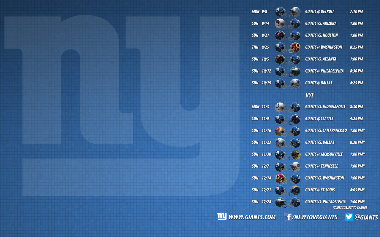 726kB The Giants 2014 schedule wallpaper is available for download 1280x800