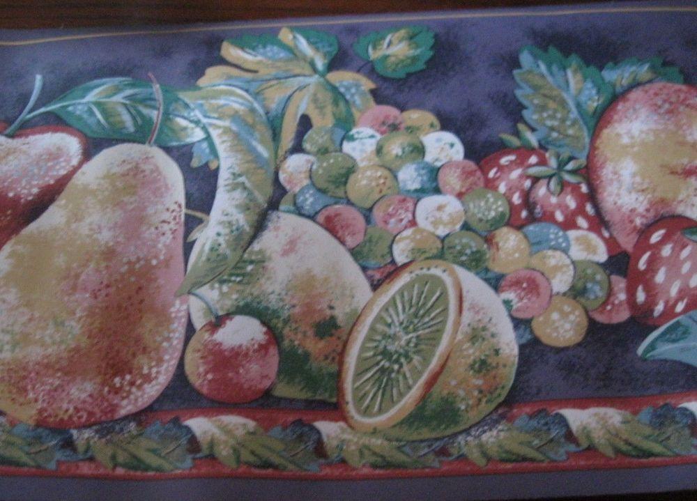 Strawberry Fruit Purple Wallpaper Border Bright Kitchen EH99920 eBay 1000x719