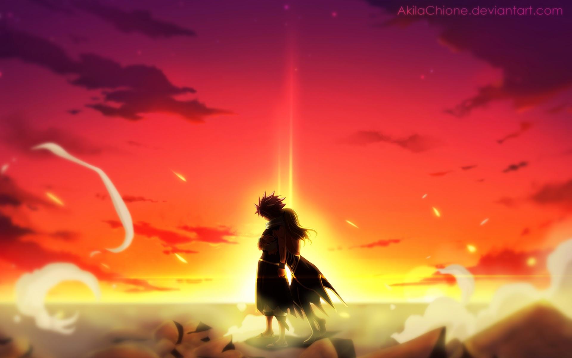 natsu lucy hug sunset fairy tail anime hd wallpaper 19201200 b025 1920x1200