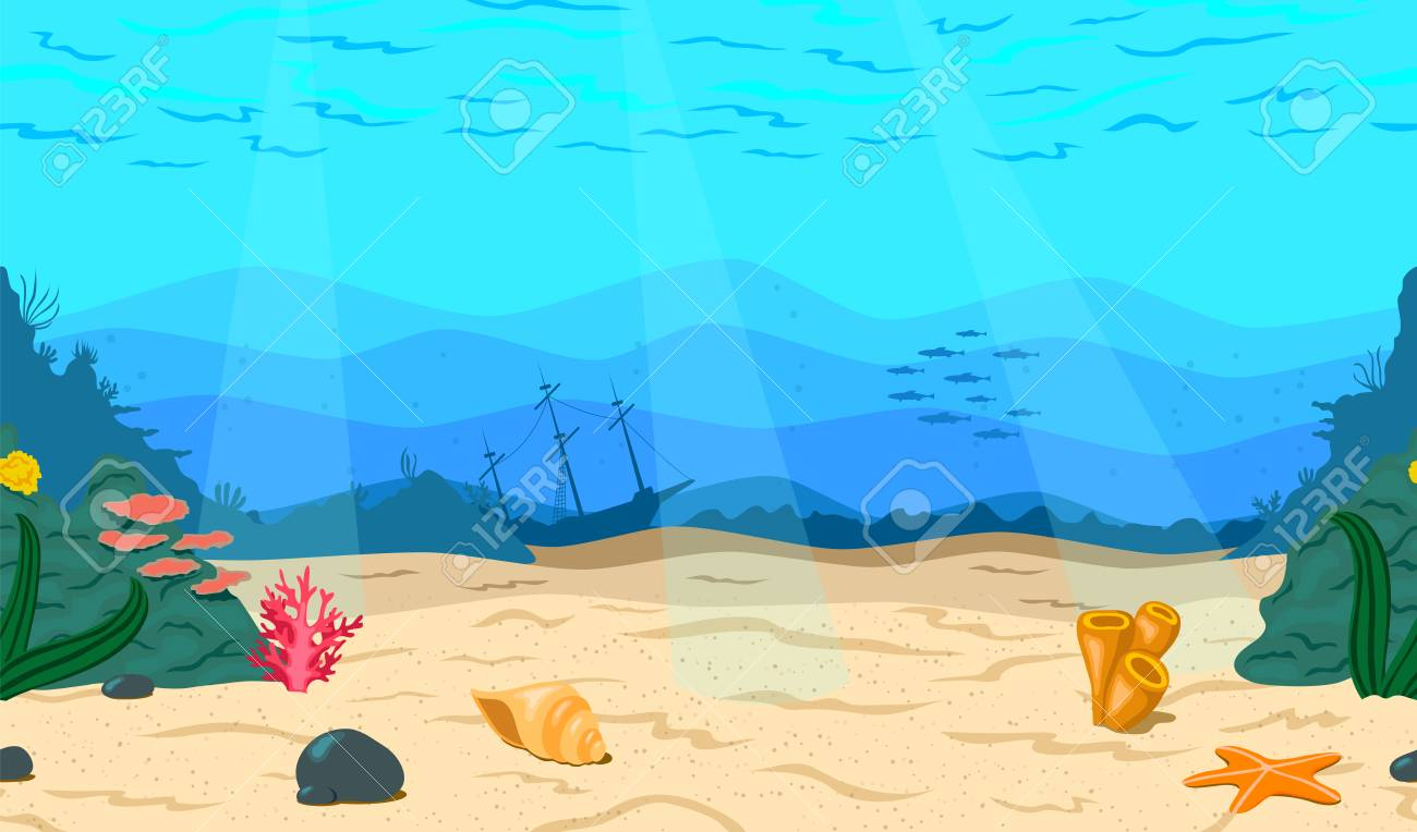 Cartoon Sea Ocean The Seabed For The Game Horizontal Seamless 1300x764