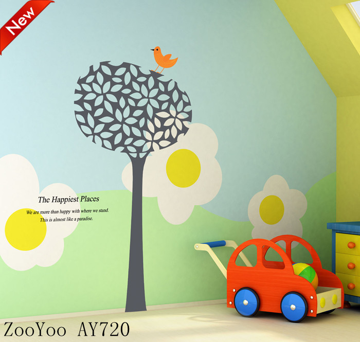 Big size green removable wallpaper murals crafts wall stickers home 700x665