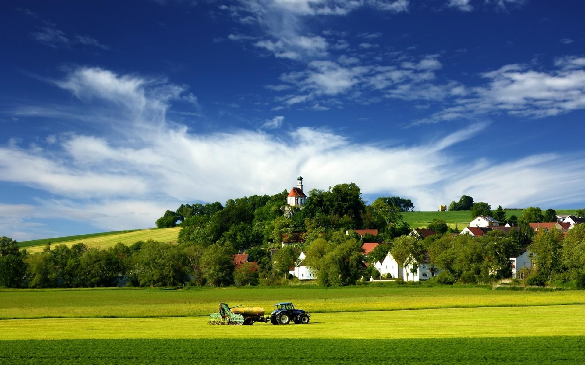 Tractor Village and Farm Country desktop wallpaper WallpaperPixel 1920x1200