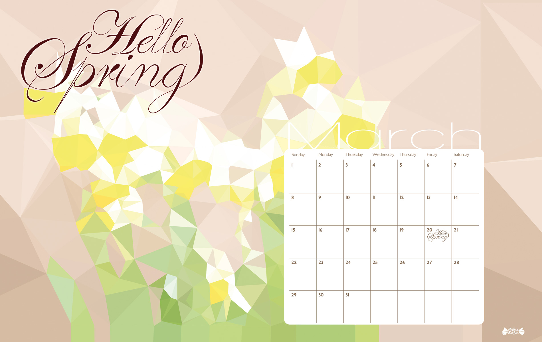 March 2015 calendar printable   Hello Spring   Papier Bonbon 1900x1200