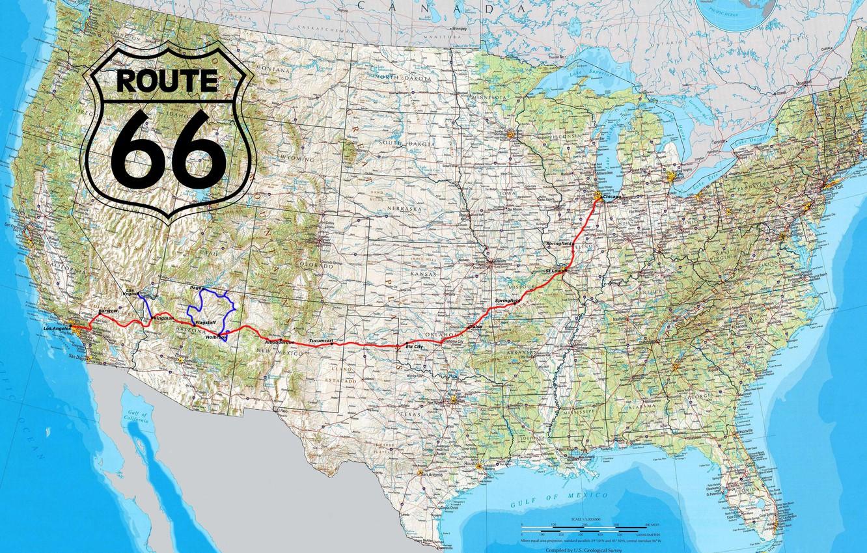Wallpaper USA road Map Route 66 highway miscellanea North 1332x850