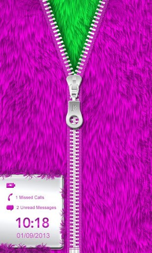 Purple Fur Zipper Lock Screen App for Android 307x512