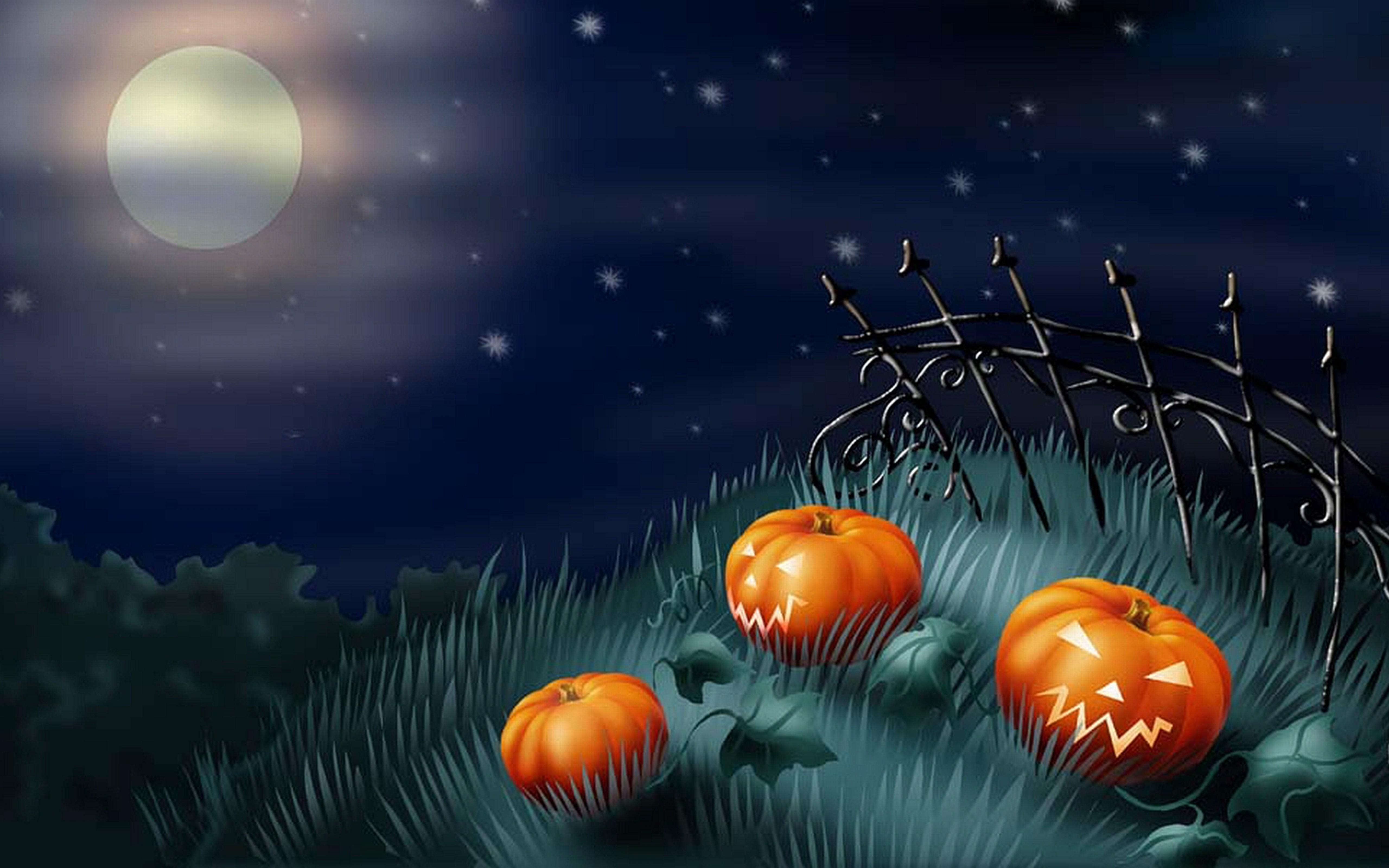 Scary pumpkins in the garden   Happy Halloween night 5120x3200