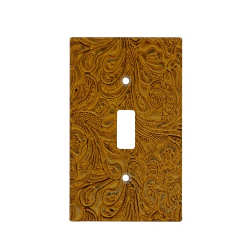 Tooled Tan Leather Look Faux Western Light Switch Covers Zazzle 512x512