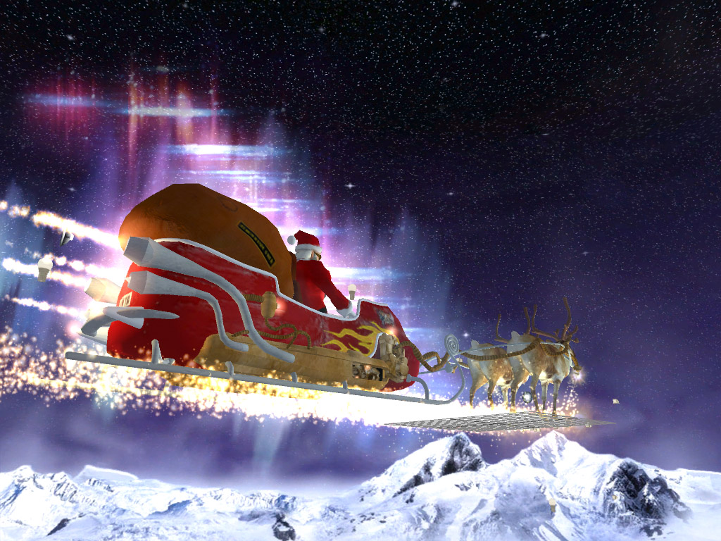 3D Santa Claus Sleigh photos of Best Christmas Theme Wallpaper for 1024x768